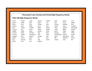 Four in A Row - High Frequency Sight Words