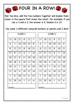 Maths Game! Four in a Row.