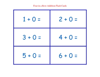 Four in a Row Addition-Flash Cards