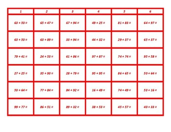 Four in a Row Addition With Regrouping Red Game