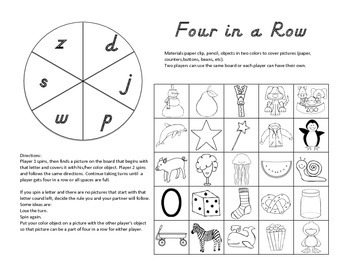 Four in a Row Beginning Sounds