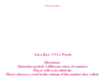 Four in a Row-CVCe Words