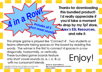 Four in a Row (Connect 4) Short Vowels, a Phonics Game