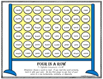 Four in a Row: Consonant+ le  2-Syllable Words