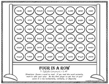 Four in a Row: Consonant+ le  2-Syllable Words