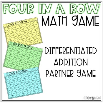 Four in a Row Differentiated Addition to 100 Math Game