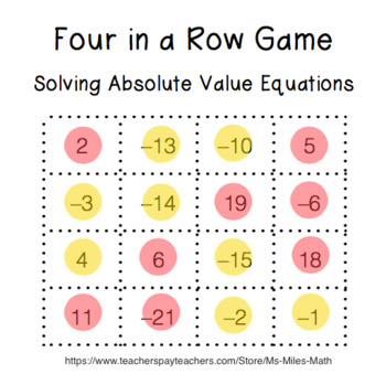 Four in a Row Game - Solving Absolute Value Equations
