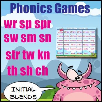 Initial Blends Games - {sw, sm, sn, wr, sp, spr, str, tw, kn, th, sh, ch}