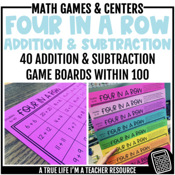 Four in a Row {Addition & Subtraction within 100}