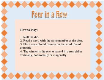 Four in a Row Multi-Syllabic Words