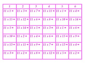 Four in a Row Multiplication 11's