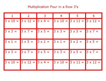Four in a Row Multiplication 3's