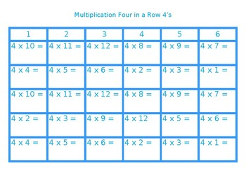 Four in a Row Multiplication 4's