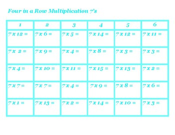 Four in a Row Multiplication 7's