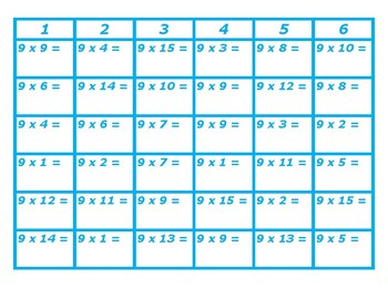 Four in a Row Multiplication 8's