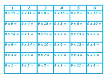 Four in a Row Multiplication 9's