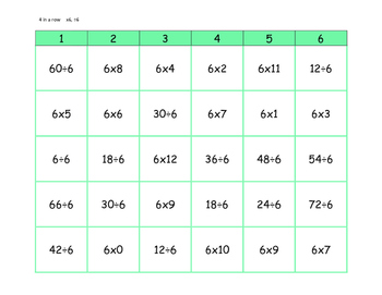 Four in a Row Multiplication & Division Facts - 8 game boards