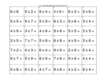 Four in a Row Multiplication Facts
