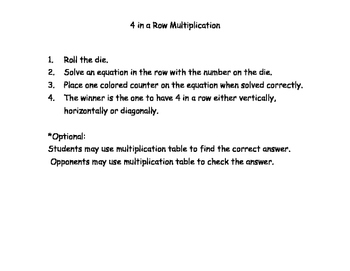 Four in a Row Multiplication Facts - 5 game boards w/ turn-around facts