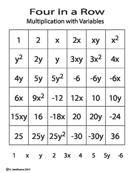Four in a Row - Multiplying Variables