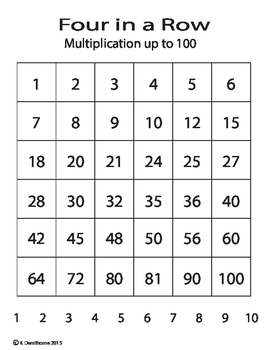 Four in a Row - Multiplying up to 100