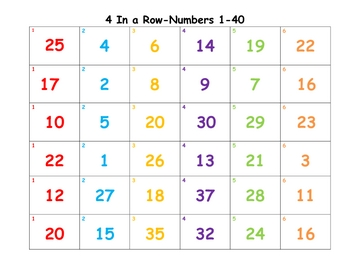 Four in a Row-Number Recognition