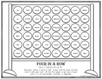 Four in a Row: Syllable Types Bundle! 2 Syllable Words