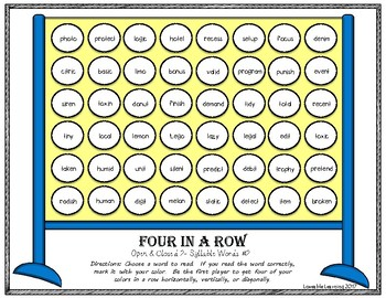 Four in a Row: Open & Closed 2- Syllable Words Identify Pesky Rule Breakers!