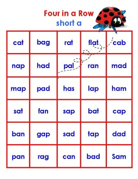 Four in a Row Packet - Games for long and short vowels a, e, i, o, and u