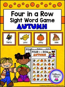 Four in a Row Sight Word Game - Fall - Autumn {Editable}