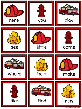 Four in a Row Sight Word Game - Fire Safety {Editable}