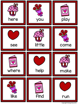 Four in a Row Sight Word Game - Valentine's Day Editable