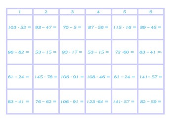 Four in a Row Subtraction with and without Regrouping Blue Game