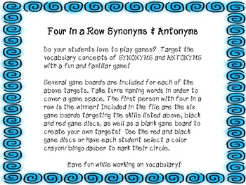 Four in a Row  Synonyms & Antonyms - Speech & Language