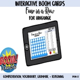 Four in a Row Interactive Boom Card Game for Language