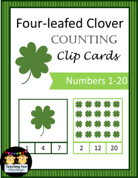 Four-leafed Clover Counting Clip Cards