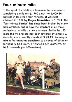 Four minute mile and Roger Bannister Handout