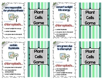 Four of a Kind Facts Plant Cell Organelles Card Game