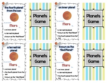 Four of a Kind Facts Planets Card Game