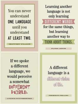 Four quotes on learning another language. A classroom poster.