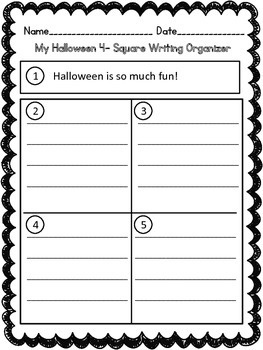 Four Square Writing- Halloween Fun!