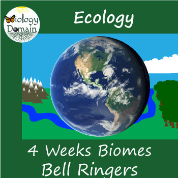 Four weeks of Biome Bell Ringers Warm Ups with Answer Key