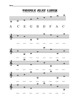 Four worksheets about the lines and spaces of the treble clef. quiz included