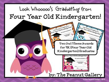 Four Year Old (4K) Kindergarten Graduation Certificates (Owl Theme)