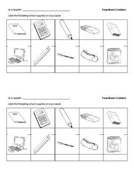 Fournitures Scolaire Identification - French ID