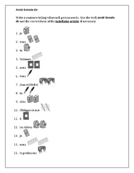 Fournitures scolaires (School Supplies in French) Worksheet