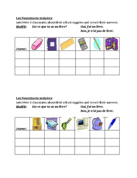 Fournitures scolaires (School Supplies in French) Interview Speaking Activity