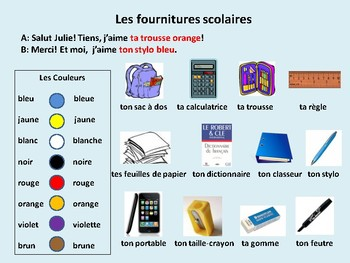Fournitures scolaires, school supplies, dialogue in French