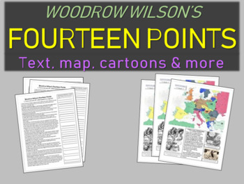 Fourteen Points - Guide, translating, cartoons, Map & W. Wilson Stick Figure