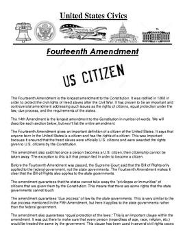 Fourteenth Amendment Civics Article and Assignment